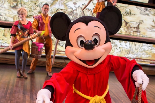 "This  photo released by Disneyland Resort shows character Mickey Mouse from the live show ""Mickey and the Magical Map,"" a 22-minute song-and-dance extravaganza at Fantasyland Theatre in Disneyland ..."