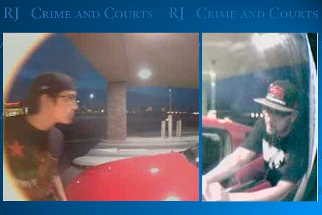 Police are looking for a second suspect, shown here in surveillance photos, in an ATM robbery. Nestor Rodriguez, 26, was arrested Monday night.