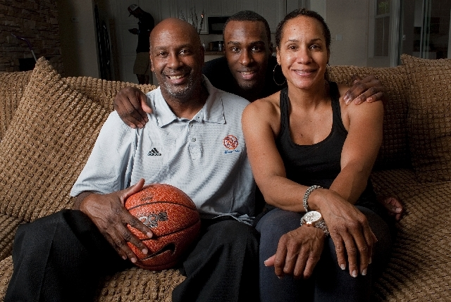 Ronald Holmes, left, is shown with his son, former UCLA basketball star Shabazz Muhammad, and Faye Muhammad, the player's mother, in a recent photo.