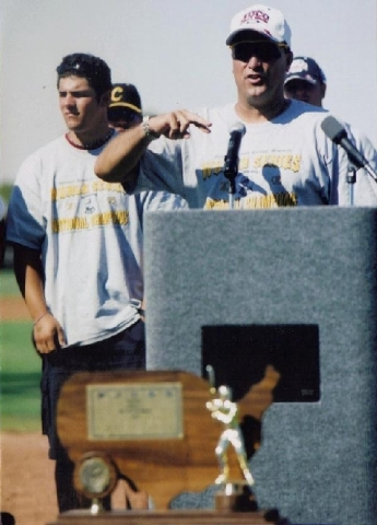 Tim Chambers, shown speaking at an assembly on campus after CSN won its World Series title, told his players that it was their destiny to win the championship.