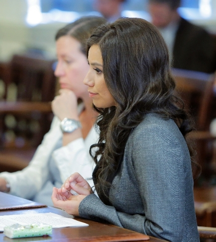 Alexis Wright listens to Justice Nancy Mills during her sentencing hearing at York County Superior Court in Alfred, Maine on Friday. Wright was sentenced under a plea agreement to 20 counts includ ...