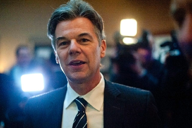 Jim Graves, CEO of the Graves Hospitality hotel company, speaks during a news conference in St. Cloud, Minn., in 2012. Just two days after Rep. Michele Bachmann announced she wouldn't run for re-e ...