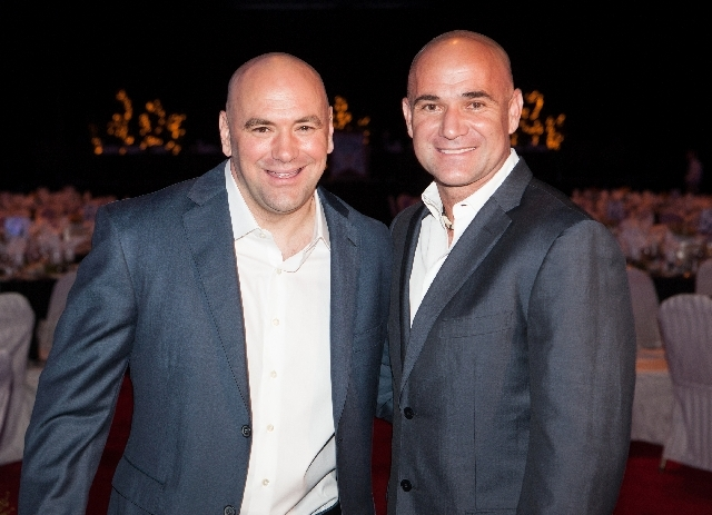 Ultimate Fighting Championship president Dana White, left, and tennis legend Andre Agassi attend the induction ceremony Friday for the 2013 class of the Southern Nevada Sports Hall of Fame at Orle ...