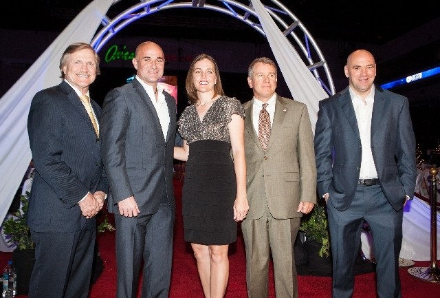 he 2013 class of the Southern Nevada Sports Hall of Fame includes, from left, Las Vegas Events president Pat Christenson, Agassi, former LPGA golfer and Cimarron-Memorial product Stephanie Louden, ...