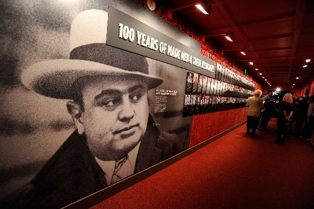 One of the displays featuring an image of Al Capone at The Mob Museum - National Museum of Organized Crime and Law Enforcement on Feb. 13, 2012.