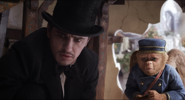 """Oz (portrayed by James Franco) and Finley the monkey (voiced by Zach Braff) appear in a scene from """"Oz the Great and Powerful."""""""