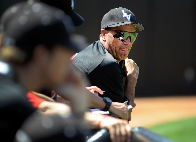 UNLV's baseball head coach, Tim Chambers, watches his team during their baseball game against San Diego on Saturday, April 7, 2012.