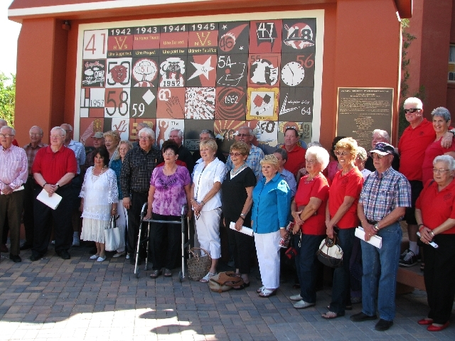 Members of the Las Vegas High School Alumni Association who graduated during the 1950s stand in front of the new Senior Squares monument at Las Vegas Academy.