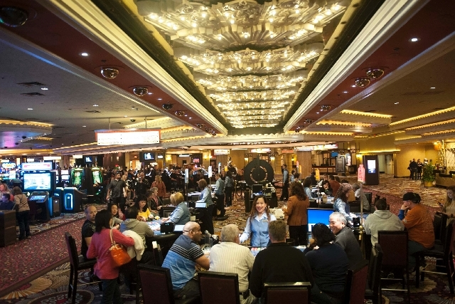 People play table games in February at the MGM Grand. Gaming revenues for Nevada were down slightly in April. The Gaming Control Board reported Monday that revenues collected by casinos were $854. ...