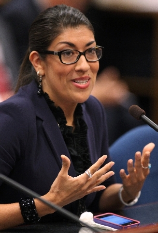 Nevada Assemblywoman Lucy Flores testifies in committee at the Legislative Building in Carson City, Nev. Flores' measure giving domestic violence victims a way to terminate housing leases cleared  ...