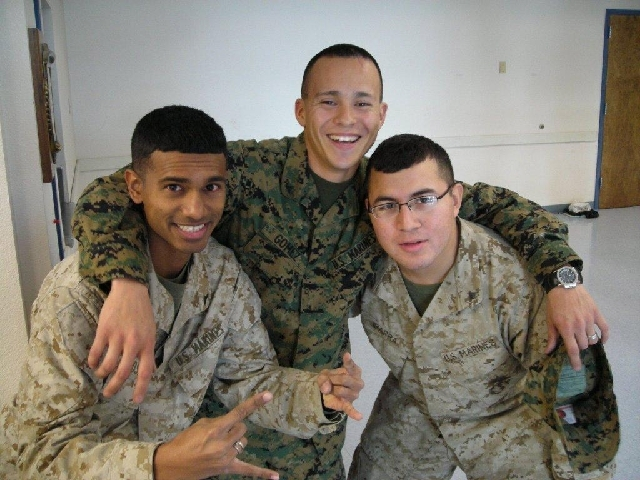 Reuben D'Silva, left, gets together with Martin Gomez, who now is studying fire science at CSN, and CSN alumnus Marcos Ibarra in 2006 just before shipping out for Iraq.