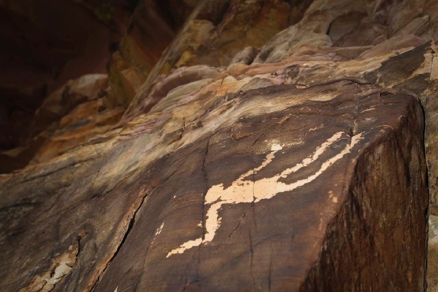 An ancient petroglyph at Gold Butte, about 90 miles northeast of Las Vegas, is shown in this April 5, 2012, photo. Petroglyphs, rock formation, unique vegetation and wildlife would be protected un ...