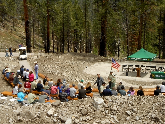 Visitors gather before a May 21 ceremony for the reopening of the Cathedral Rock Picnic Area on Mount Charleston.