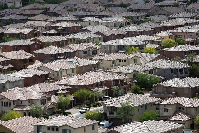 Homes are seen in the master-planned community of Mountain's Edge in southwest Las Vegas. U.S. home prices soared 12.1 percent in April from a year earlier, real estate data provider CoreLogic rep ...