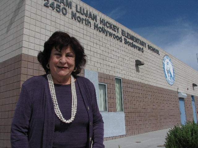 Liliam Lujan Hickey stands outside the Sunrise Manor elementary school that bears her name. She and her first husband moved to Las Vegas in 1964.