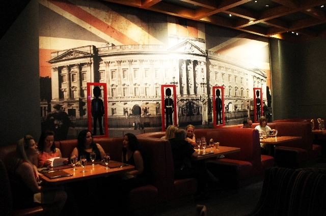 "Patrons dine at Gordon Ramsay Pub & Grill, one of three Las Vegas restaurants opened by the celebrity chef famous for the television show ""Hell's Kitchen."""
