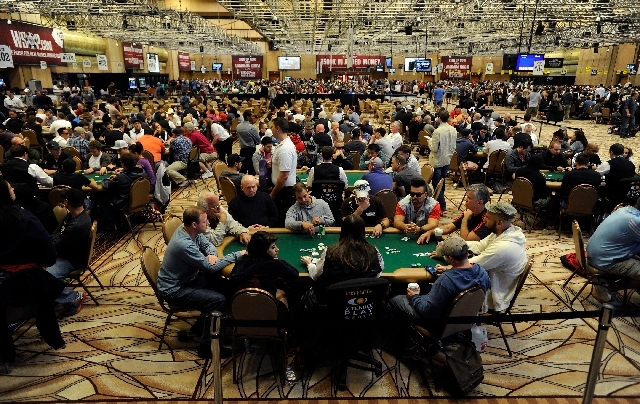A general view of action is seen during the WSOP's Millionaire Maker no limit hold 'em poker tournament at the Rio hotel-casino on Saturday.