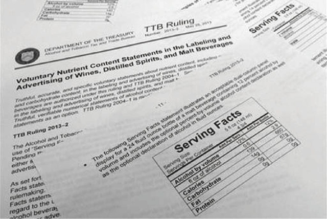 Pages from a ruling by the Department of the Treasury's Alcohol and Tobacco Tax and Trade Bureau shows voluntary recommendations for labeling of wines, distilled spirits and malt liquor that were  ...