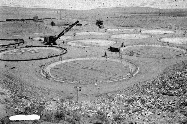 "This 1944 photo provided by the U.S. Department of Energy shows the construction of a ""tank farm"" to store nuclear waste at Hanford Nuclear Reservation."