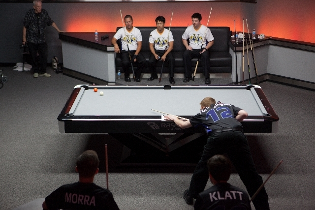 Toronto's Erik Hjorliefson makes a shot against Las Vegas during a World Professional Billiard League game at the WPBL Arena, 6745 Surrey St., in Las Vegas on Sunday.