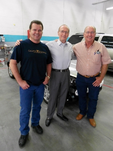 A recent gathering at Collision Authority in Henderson included, from left, co-owner Michael Spears, former U.S. Sen. Richard Bryan and Henderson business owner Bobby Ellis. Together they represen ...