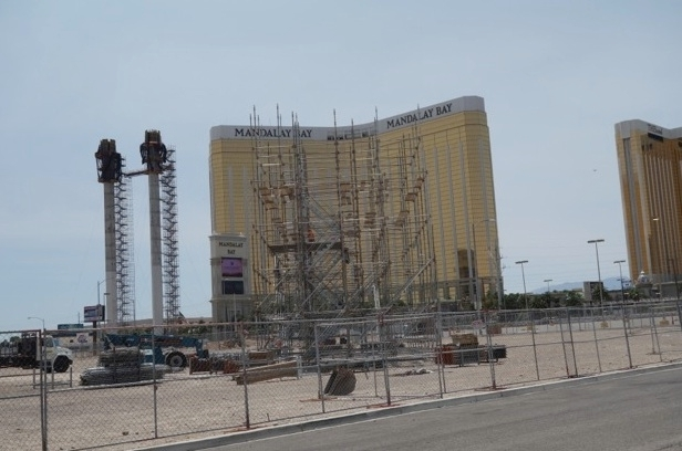 Work progresses on a permanent outdoor event space being built east of the Luxor.