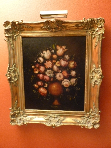 An ornate gold frame is ideal for traditional artwork such as still lifes.