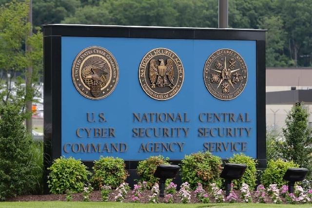 A sign stands outside the National Security Administration (NSA) campus on Thursday in Fort Meade, Md. The Obama administration on Thursday defended the National Security Agency's need to collect  ...