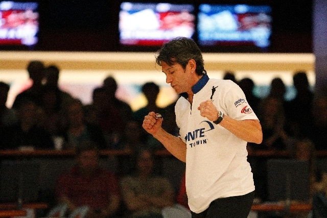 Amleto Monacelli celebrates after rolling a strike Friday during his 199-193 win over Ron Mohr in the Suncoast PBA Senior U.S. Open final at the Suncoast Bowling Center. Monacelli joined Wayne Web ...