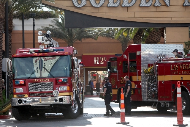 Las Vegas firefighters respond to a fire at the Golden Nugget in this file photo from March 15, 2012. The city will start accepting applications for firefighter trainees on Monday.