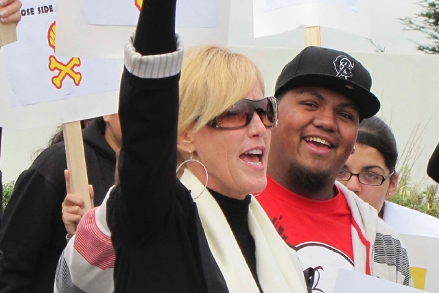 Activist Erin Brockovich, seen during a 2011 protest, was arrested for boating while intoxicated at Lake Mead Friday.