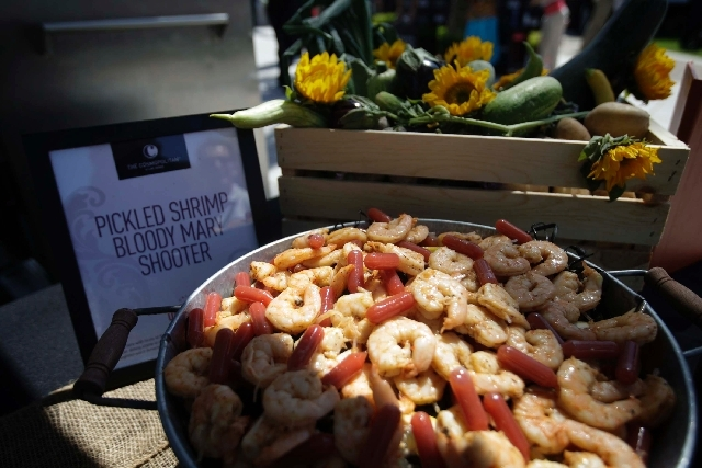 Pickled shrimp bloody mary shooters were among the offerings at the International Pow Wow press brunch at the Smith Center for the Performing Arts in Las Vegas on Sunday.