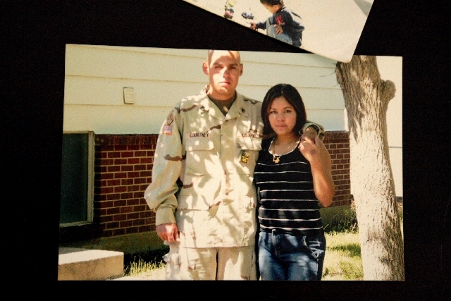 Sharon Courtney and her husband, James, an Iraq War veteran, are seen in a photo before his second deployment to Iraq.