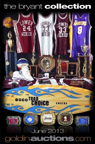 This image shows an advertisement for an auction of items from Los Angeles Lakers star Kobe Bryant. Goldin Auctions and Bryant reached an agreement to avoid a trial.