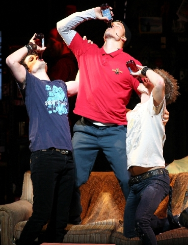 """Casey O'Farrell as Will, left, Thomas Hettrick as Tunny, middle, and Alex Nee as Johnny are shown during a scene in """"American Idiot"""" the musical at The Smith Center."""