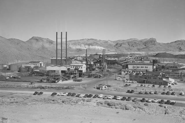 Smoke rises from the mill stacks at the Three Kids Mine in this courtesy photo from 1953. The mine produced manganese from World War I through 1961.
