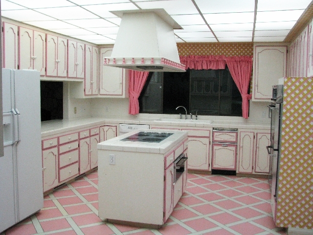 The kitchen inside the underground home at 3970 Spencer St. comes equipped with an island stove.