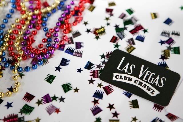 Party decorations are scattered on the Las Vegas Club Crawl VIP party tour booth Wednesday during the Las Vegas Metro Chamber of Commerce Business Expo 2013.