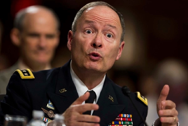 Gen. Keith B. Alexander, director of the National Security Agency and head of the U.S. Cyber Command, testifies before the Senate Appropriations Committee hearing to examine cybersecurity, on Capi ...