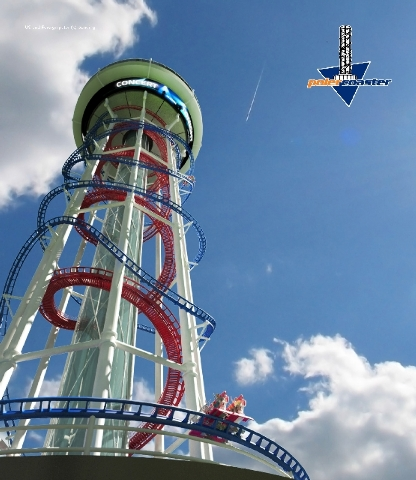 The Polercoaster thrill ride and observation tower is shown in this rendering provided by Orlando-based US Thrill Rides. The company has applied for FAA clearance to build a 650-foot tower at the  ...