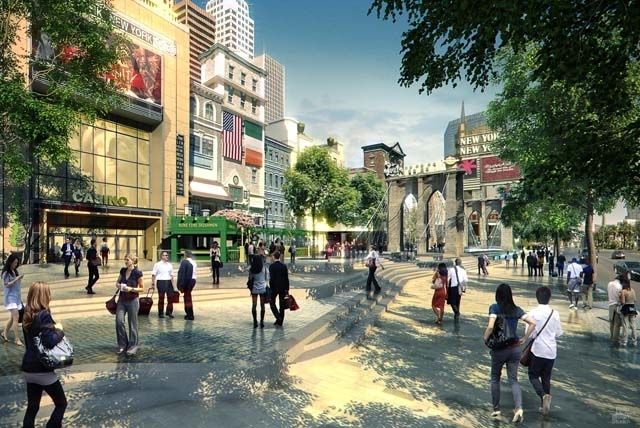 An artist's rendering shows retail, dining and entertainment offerings that will be adjacent to MGM Resorts' planned 20,000-seat arena near New York-New-York and Monte Carlo just off the Strip.