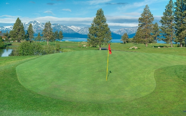 Hole No. 14 at Edgewood Tahoe Golf Course is a good example of how scenic this trip for two can be.