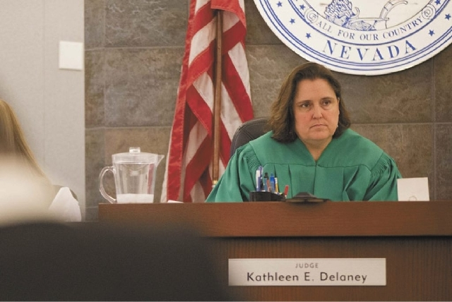 Judge Kathleen Delaney listens to arguments in Clark County district court in this Associated Press file photo.