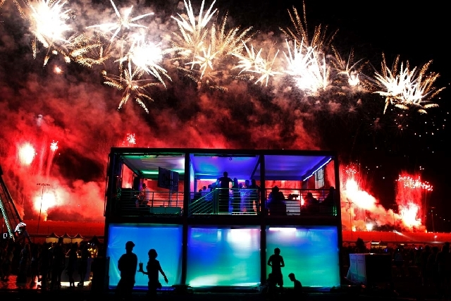 Fireworks explode over the Las Vegas Motor Speedway during the Electric Daisy Carnival in Las Vegas on Saturday.