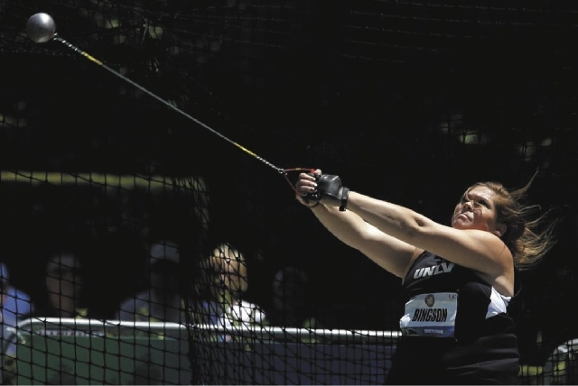 Former UNLV hammer thrower Amanda Bingson, shown during the 2012 U.S. Olympic Trials in Beaverton, Ore., set an American women's record in the event last weekend at the U.S. Outdoor Championships. ...
