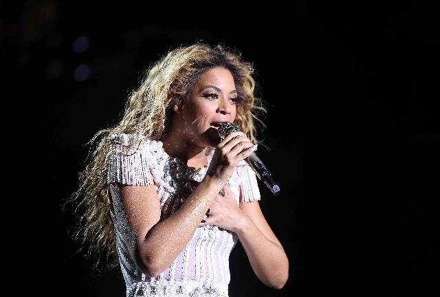 """Singer Beyonce performs during her """"Mrs. Carter Show World Tour"""" on May 29 in Stockholm. The tour stops in Vegas this weekend."""