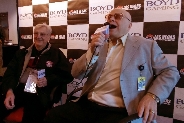 Bruton Smith, right, chief executive of Speedway Motorsports Inc., and Bill Boyd of Boyd Gaming Corp. speak March 8 during at a press conference while visiting Las Vegas Motor Speedway.