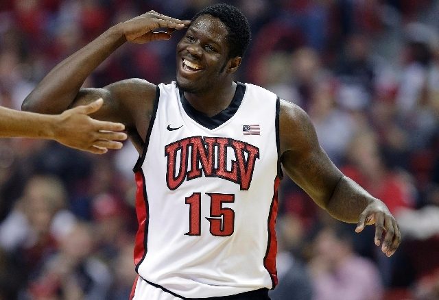 UNLV forward Anthony Bennett, reacting after hitting a 3-pointer against Cal State Bakersfield this past season, should go in the first five picks of today's NBA Draft - with an outside chance at  ...