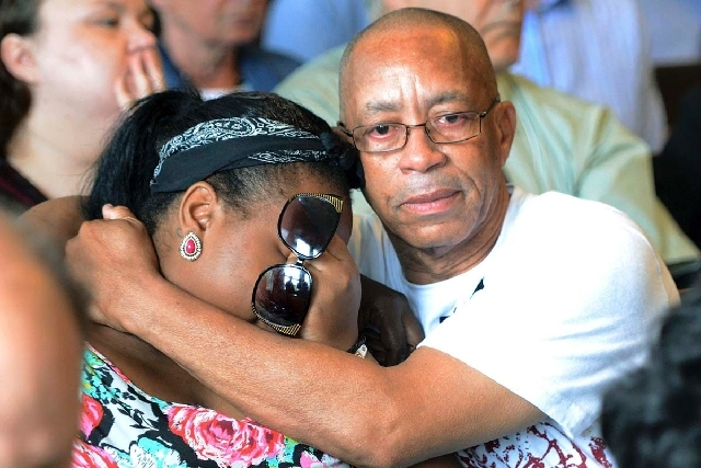 Family of Odin Lloyd react during the arraignment of former New England Patriots tight end Aaron Hernandez in Attleboro District Court Wednesday in Attleboro, Mass. Hernandez was charged with murd ...