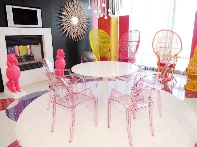 The dining area of the Barbie Suite at the Palms awaits.